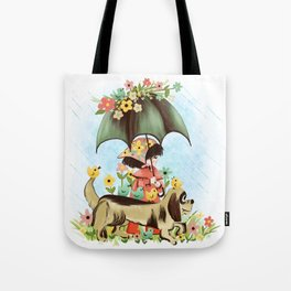 Rain on the green grass, Rain on the tree, Rain on the housetop, But not on me Tote Bag