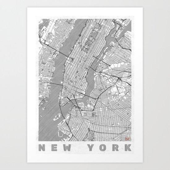 Line Art New York City : New york map line art print by city posters society