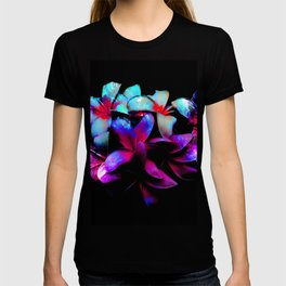 Floral Night - Dramatic Tropical Bright Neon Flower Art T-shirt