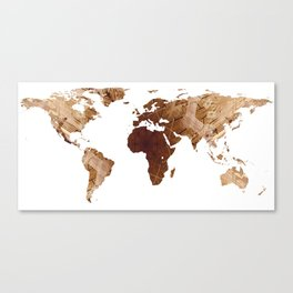 World Map Silhouette - Abstract Photo-Mandala (Wh) Canvas Print