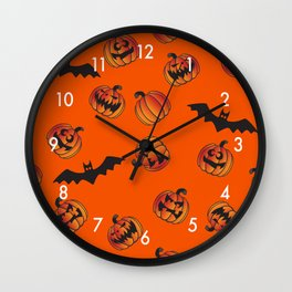Halloween Jack O' Lantern Pumpkins and Bats Seamless Repeating Pattern Wall Clock