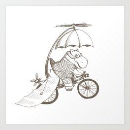 Hippo's Flying Machine Art Print