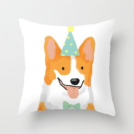 Birthday corgi Throw Pillow