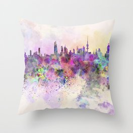 Kuwait City skyline in watercolor background Throw Pillow