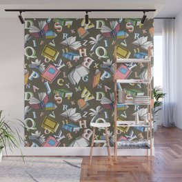 Books and Letters Wall Mural