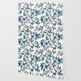 Jade and Succulent Watercolor Plant Pattern Wallpaper