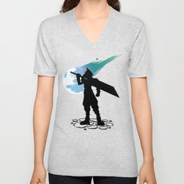 Cloud and the Meteor - Final Fantasy VII Unisex V-Neck