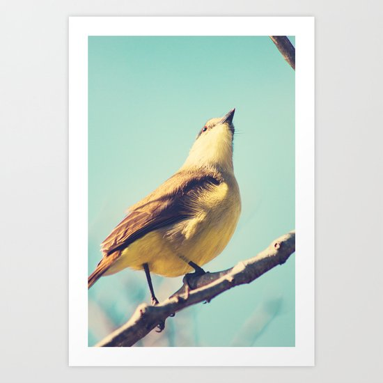 He goes skywards (Retro bird in tree branches and pale turquoise sky) Art Print