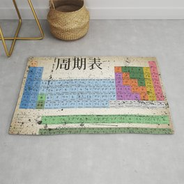 Japan Japanese Periodic Table Of The Elements Vintage Chart Silver Rug