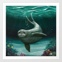 hawaiian Art Prints featuring Hawaiian Monk Seal ~ Acrylic by Amber Marine
