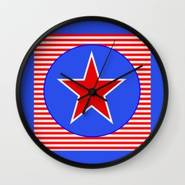 Patriotic Star in with Blue Wall Clock