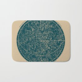 Constellations of the Northern Hemisphere Vintage Paper and Emerald Bath Mat