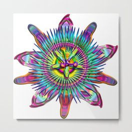 """Passiflora The """"Passion Flower"""" Psyhcedelic Abstract Metal Print"""