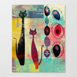 Mid-Century Modern 2 Cats - Graffiti Style Canvas Print