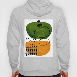 Modern Mid Century Fun Colorful Abstract Minimalist Painting Olive Green Yellow Ochre Buns Hoody