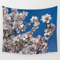 portugal Wall Tapestries featuring Almond blossom (the Algarve, Portugal) by Michael Howard