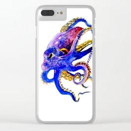 Octopus, Blue, Gold,Purple Clear iPhone Case