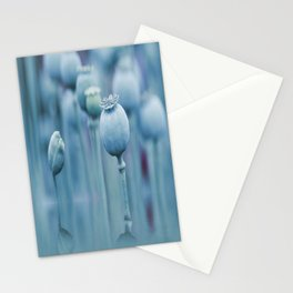 Poppy capsules blue style Stationery Cards