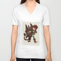 hiccup V-neck T-shirts featuring Hiccup & Toothless - Childhood  by David Tako