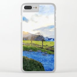 Cool Sunset behind the Farm and Mountains by the Lake District, UK Clear iPhone Case