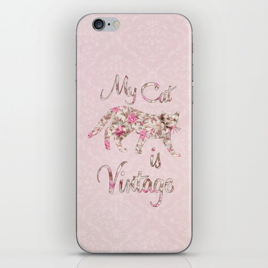 My Cat Is Vintage Retro Pink Floral Damask iPhone Skin