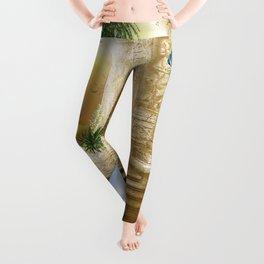 Golden Royal Peacock Temple Dreams Leggings