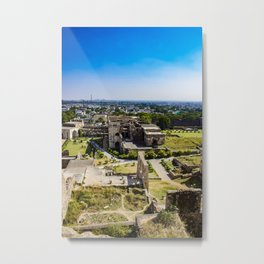 Looking Down at the Entry Courtyard of Golconda Fort and into the City of Hyderabad, India Metal Print