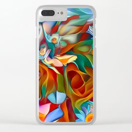 Psychedelic Daises Clear iPhone Case