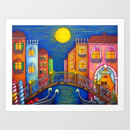 Moonlit Venice Art Print