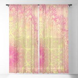 Mandala in Rose and Lemon Sheer Curtain