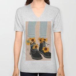 Flower Boots Unisex V-Neck