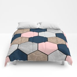 Navy and peach marble and foil hexagons Comforters