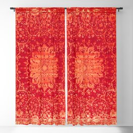 Geometric Orange Oriental Vintage Traditional Moroccan Mandala Blackout Curtain