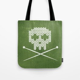 Knitted Skull - White on Olive Green Tote Bag