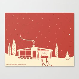 Mid-Century Snowscene in Red Canvas Print