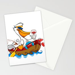 Cartoon pelican with captain's hat Stationery Cards