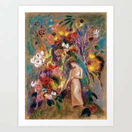 Female figure into red poppy, calla lilies, hibiscus, and flowers portrait painting by Odilon Redon Art Print