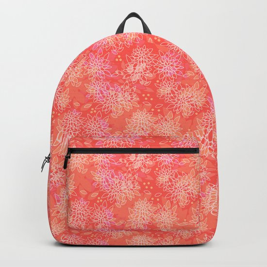 Floral pattern salmon Backpack