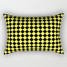 Black and Electric Yellow Diamonds Rectangular Pillow