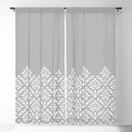 Damask Baroque Part Pattern White on Grey Blackout Curtain
