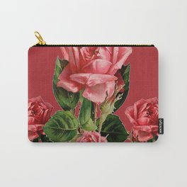 ROSE MADDER ANTIQUE VINTAGE ART PINK ROSES Carry-All Pouch