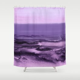 watercolor landscape - purple Shower Curtain