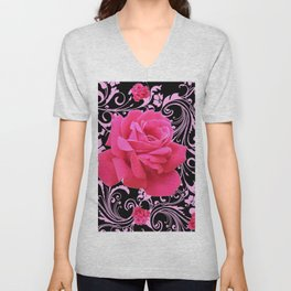 ORNATE  BLACK & PINK ROSE GARDEN PATTERN Unisex V-Neck