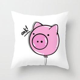 Oink! Oink! - PIGGY BALLOON Throw Pillow
