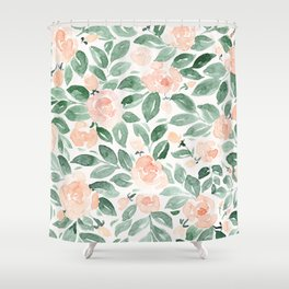 "Loose watercolor florals, ""Miriam"" Shower Curtain"
