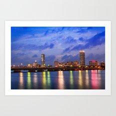 Harvard Bridge, colorful reflection Art Print