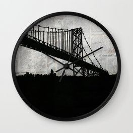 Paper City, Newspaper Bridge Collage, night silhouette cityscape news paper cutout, black and white Wall Clock
