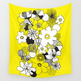 Floral Medley - Yellow Wall Tapestry