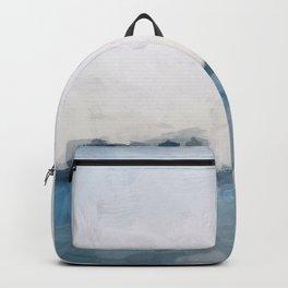 Sky Denim Indigo Navy Blue Ocean Sea Horizon, Abstract Nature Ocean Sunny Clear Morning Water, Paint Backpack