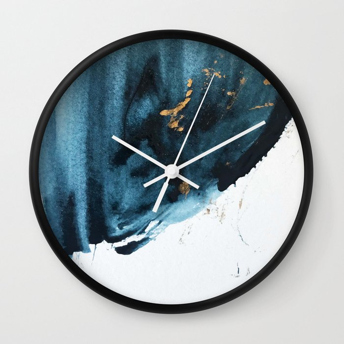 Sapphire and Gold Abstract Wall Clock